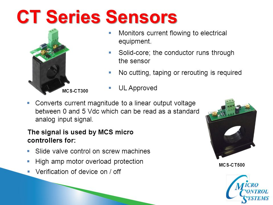 CT Series Sensors Monitors current flowing to electrical equipment.