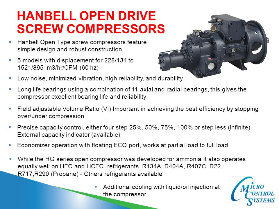 HANBELL OPEN DRIVE SCREW COMPRESSORS