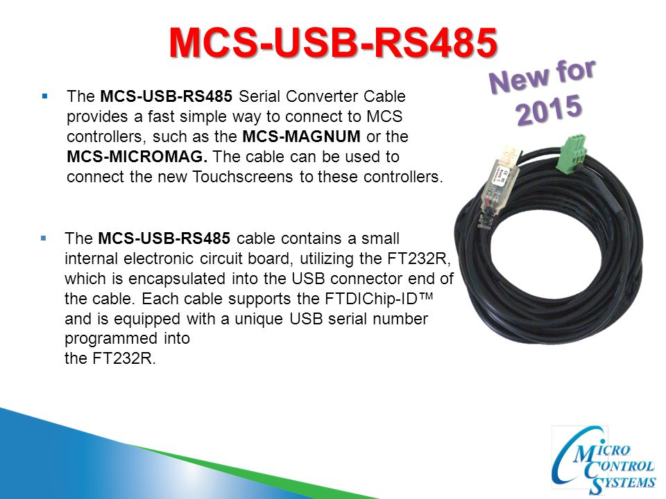 MCS-USB-RS485 New for 2015.