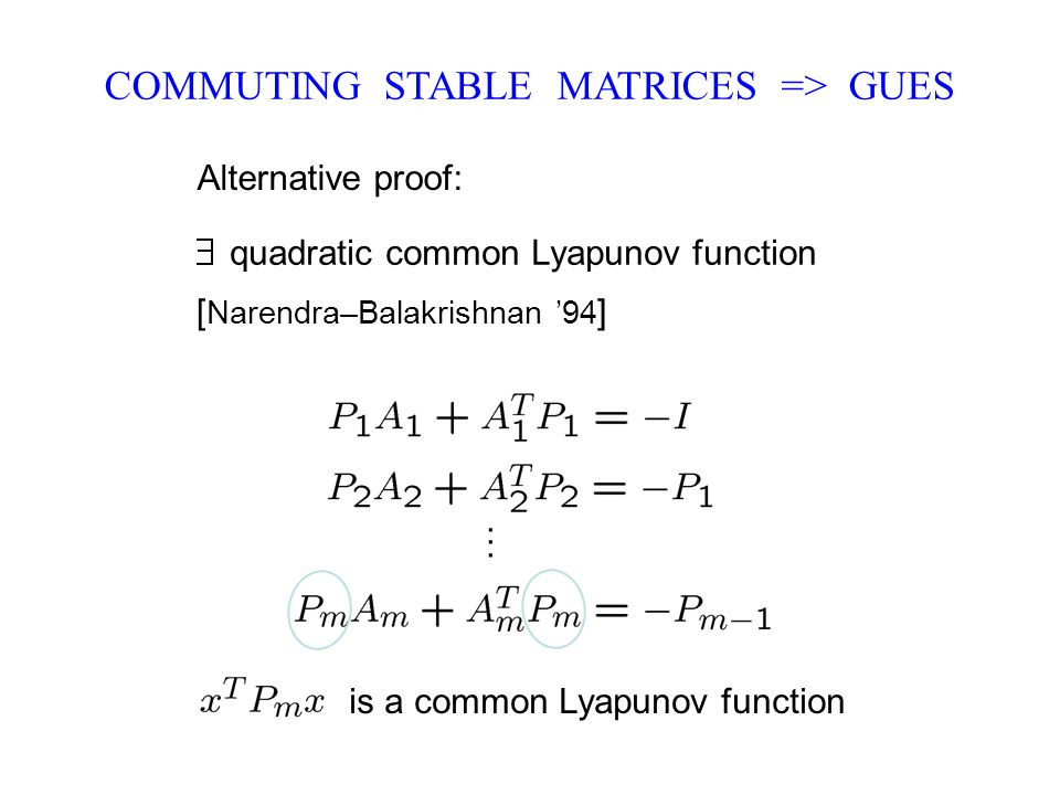 COMMUTING STABLE MATRICES => GUES