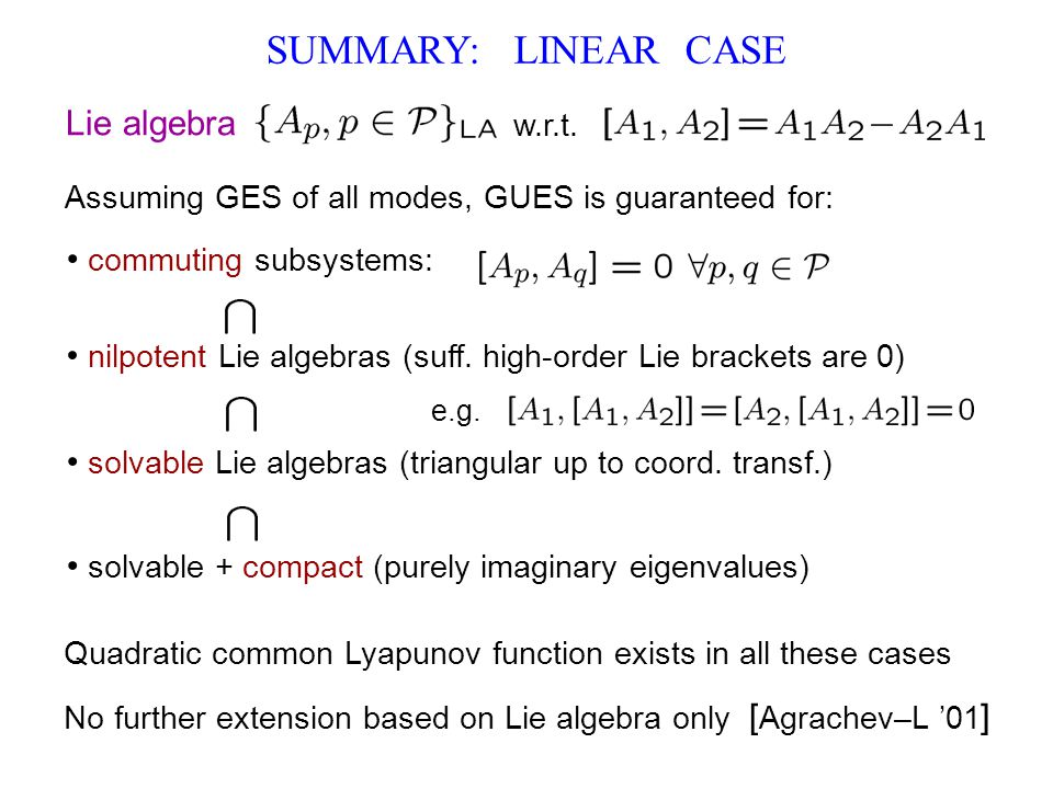 SUMMARY: LINEAR CASE Lie algebra commuting subsystems: