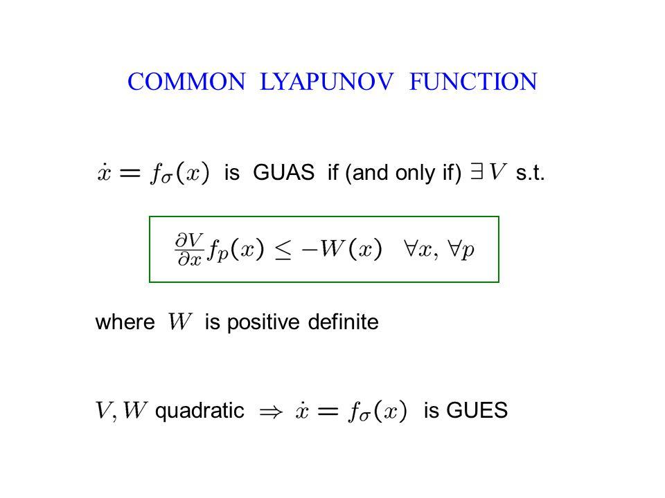 COMMON LYAPUNOV FUNCTION