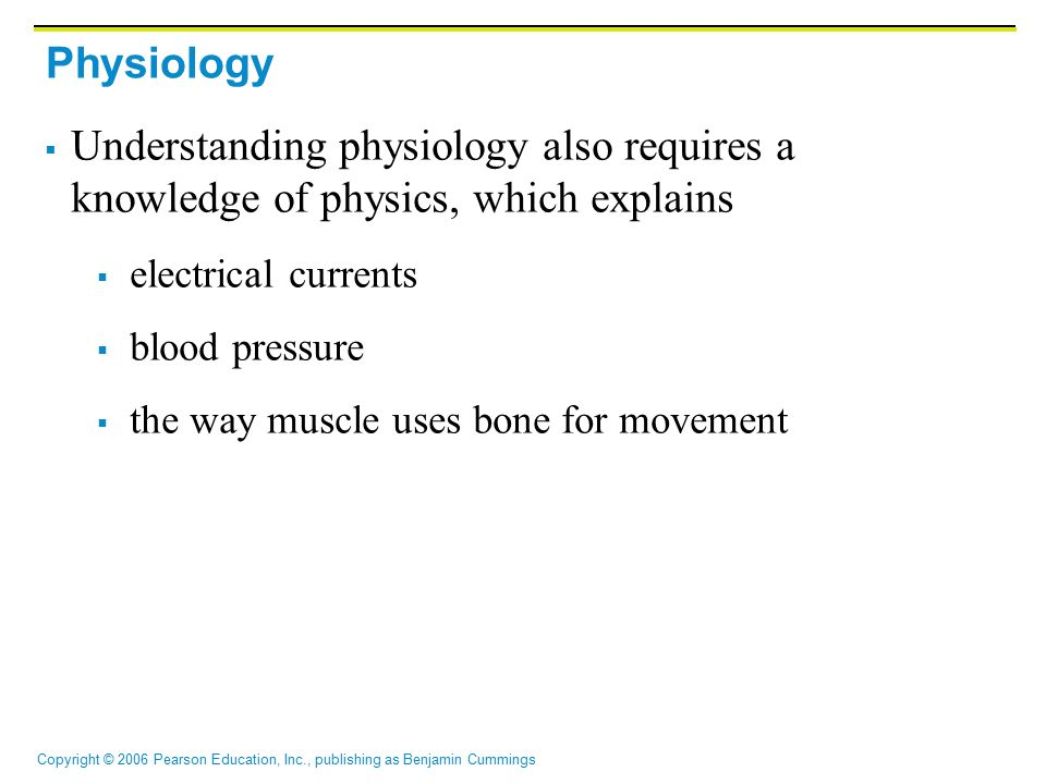 Physiology Understanding physiology also requires a knowledge of physics, which explains. electrical currents.