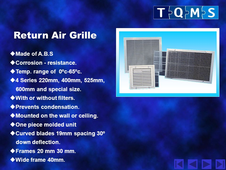 Return Air Grille Made of A.B.S Corrosion - resistance.