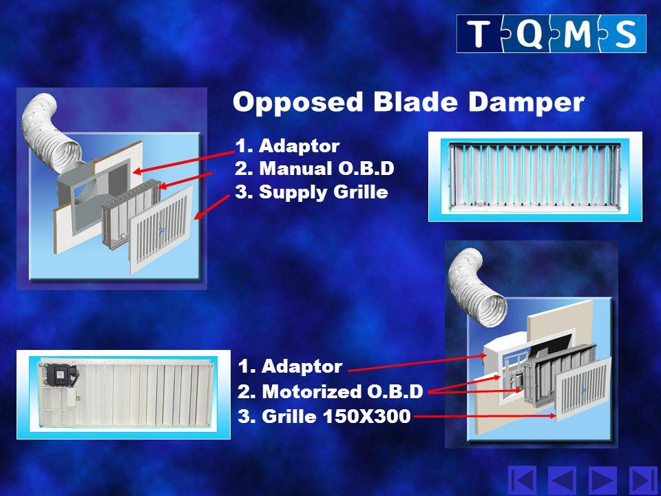 Opposed Blade Damper 1. Adaptor 2. Manual O.B.D 3. Supply Grille