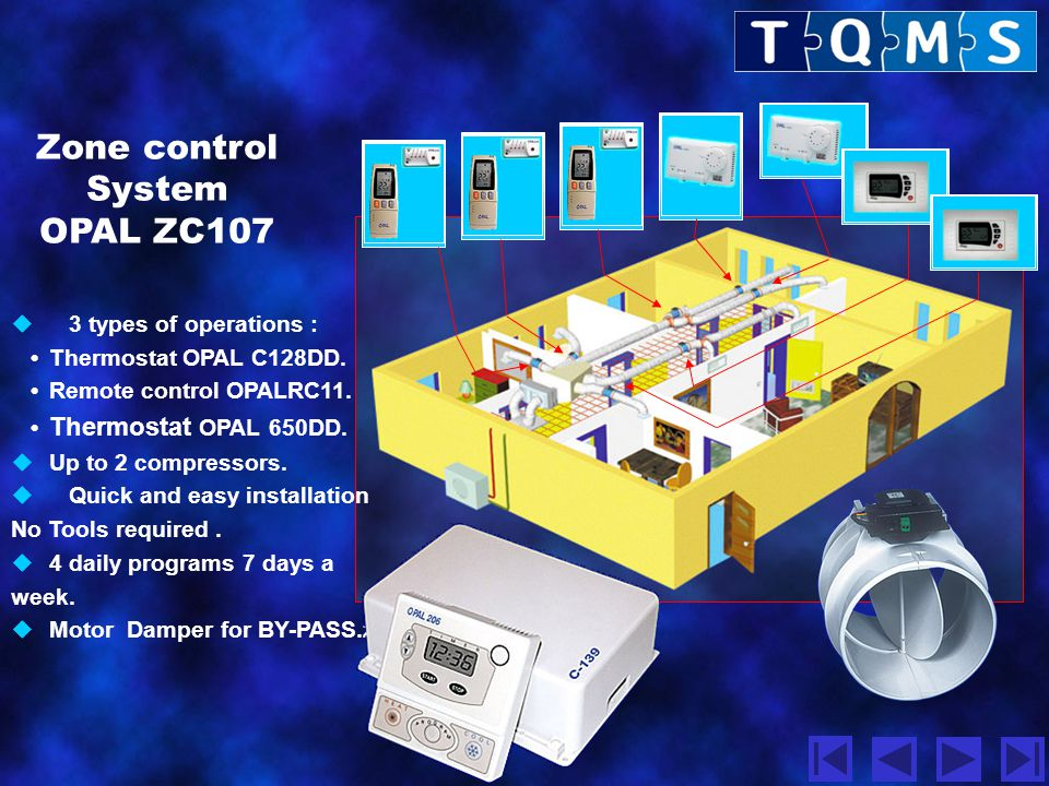 Zone control System OPAL ZC107 3 types of operations :