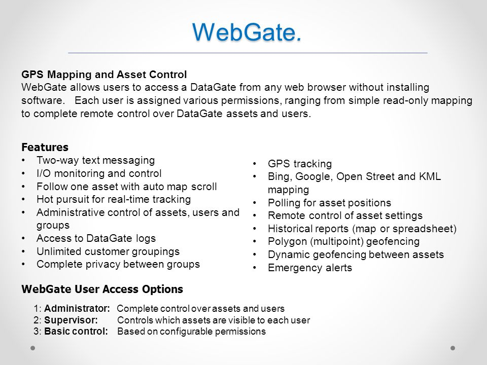 WebGate. GPS Mapping and Asset Control