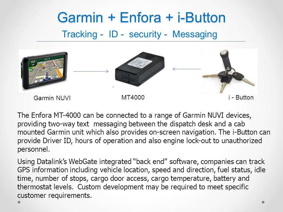 Garmin + Enfora + i-Button