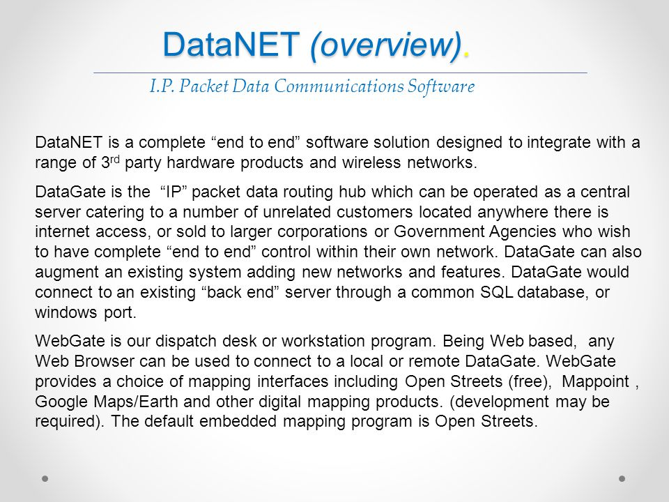 I.P. Packet Data Communications Software