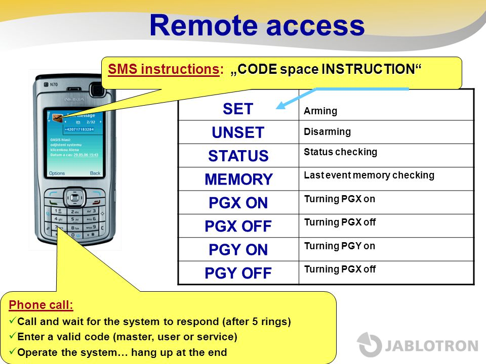 Remote access SET UNSET STATUS MEMORY PGX ON PGX OFF PGY ON PGY OFF