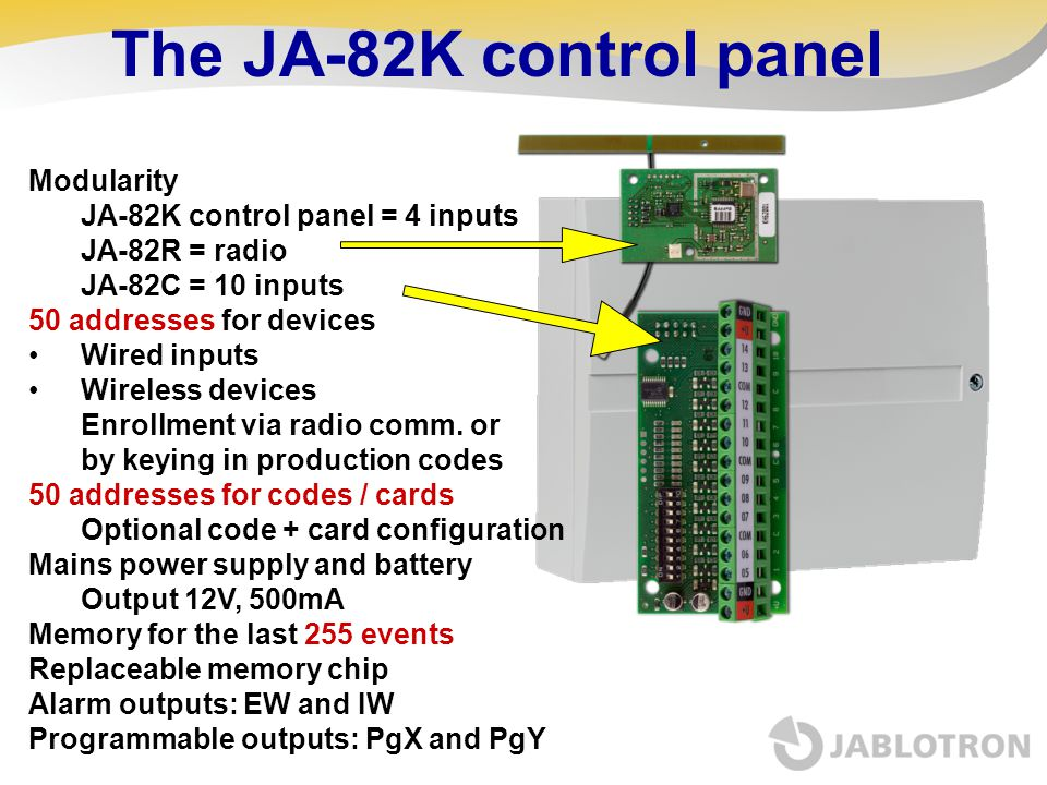 The JA-82K control panel Modularity JA-82K control panel = 4 inputs