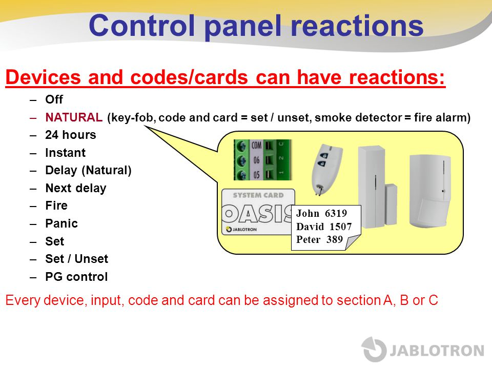 Control panel reactions