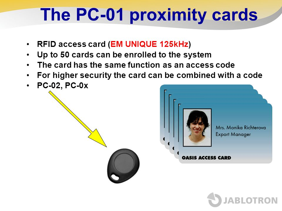 The PC-01 proximity cards