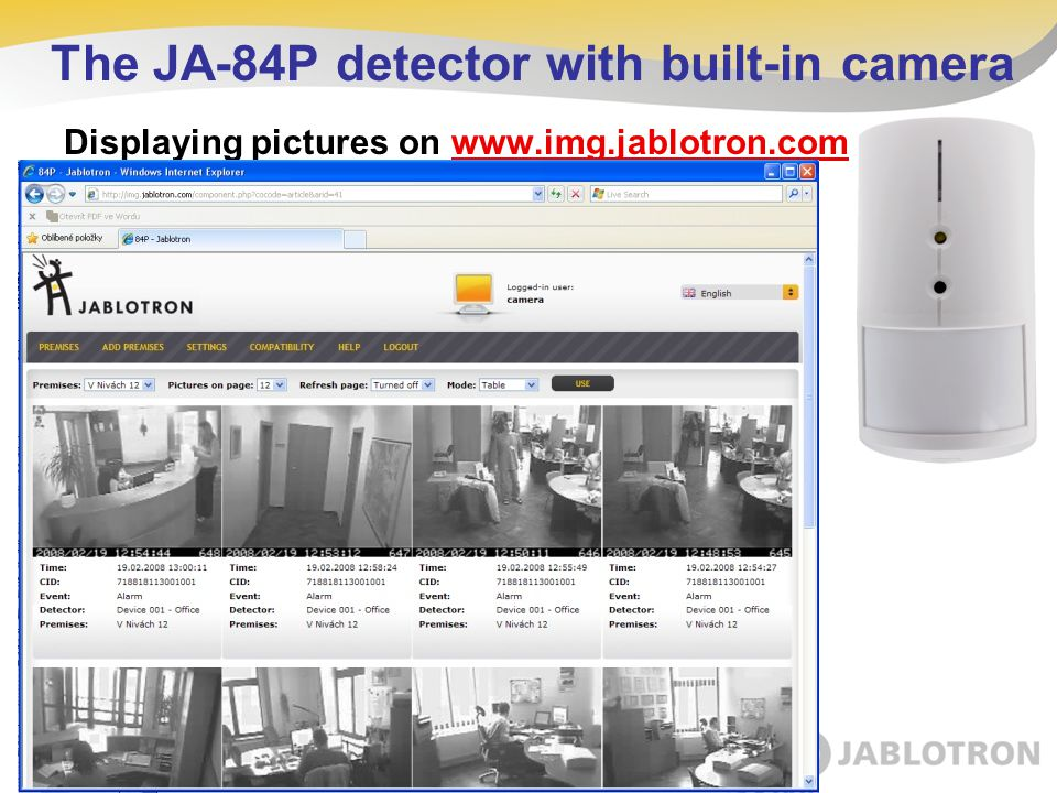 The JA-84P detector with built-in camera