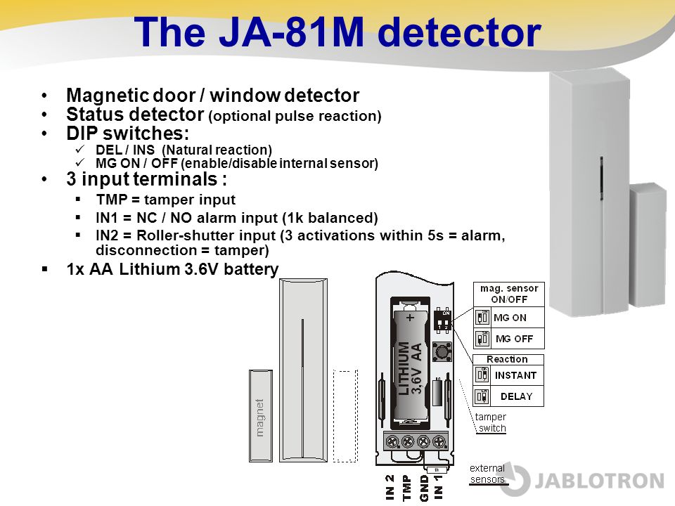 The JA-81M detector Magnetic door / window detector