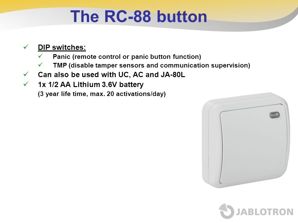 The RC-88 button DIP switches: Can also be used with UC, AC and JA-80L