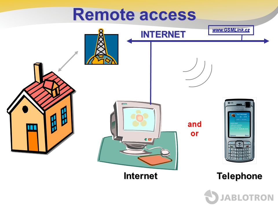 Remote access INTERNET www.GSMLink.cz and or Internet Telephone