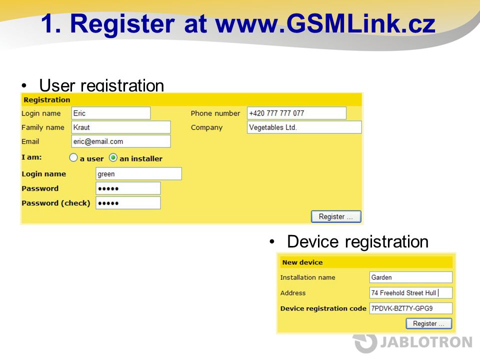 1. Register at www.GSMLink.cz