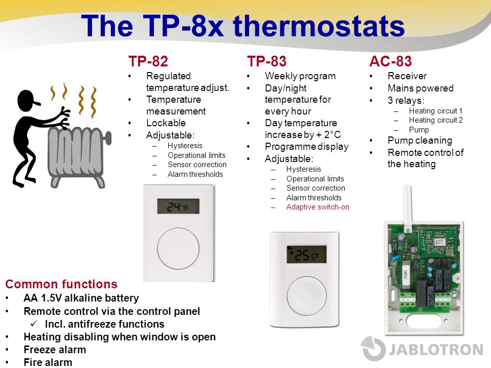 The TP-8x thermostats TP-82 TP-83 AC-83 Common functions