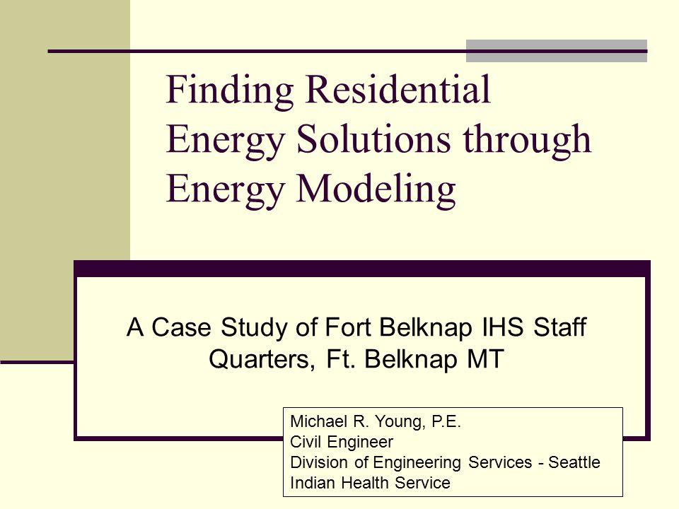 Finding Residential Energy Solutions through Energy Modeling