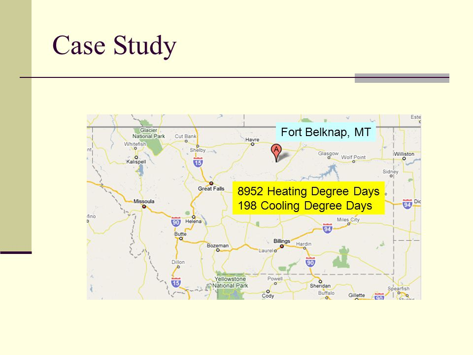 Case Study Fort Belknap, MT 8952 Heating Degree Days