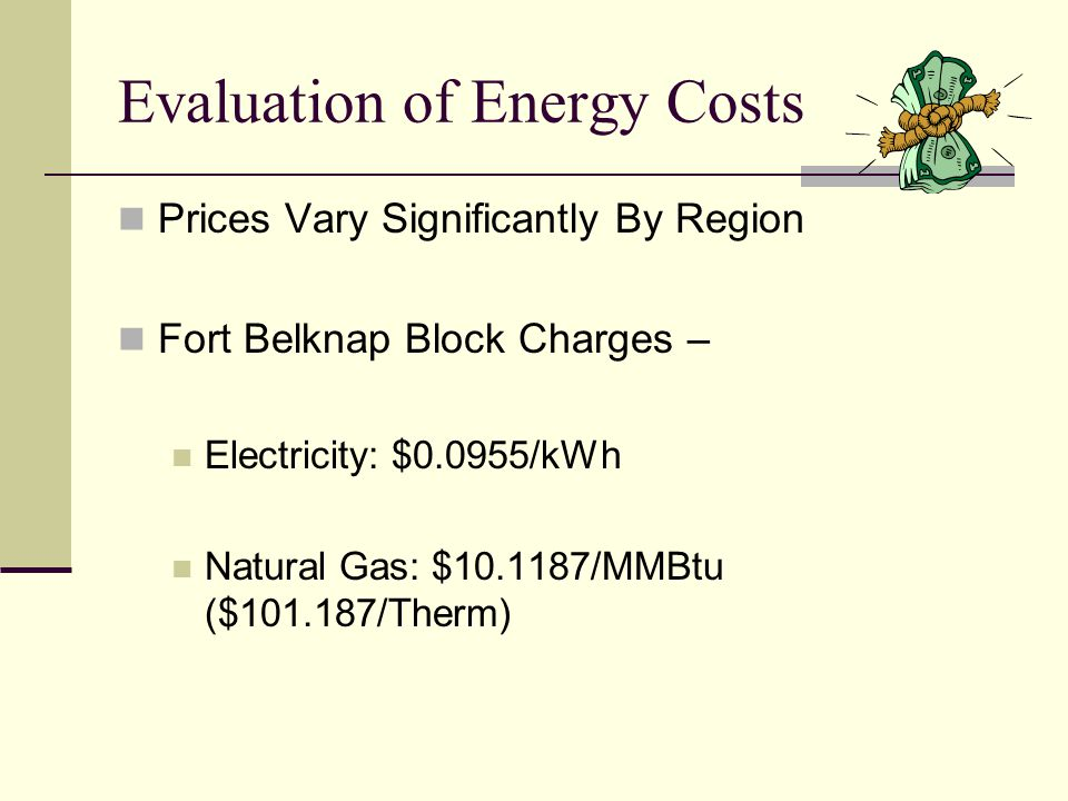 Evaluation of Energy Costs