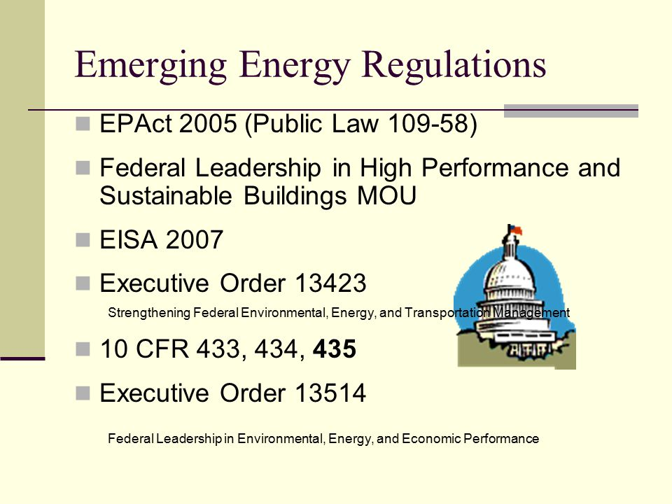 Emerging Energy Regulations