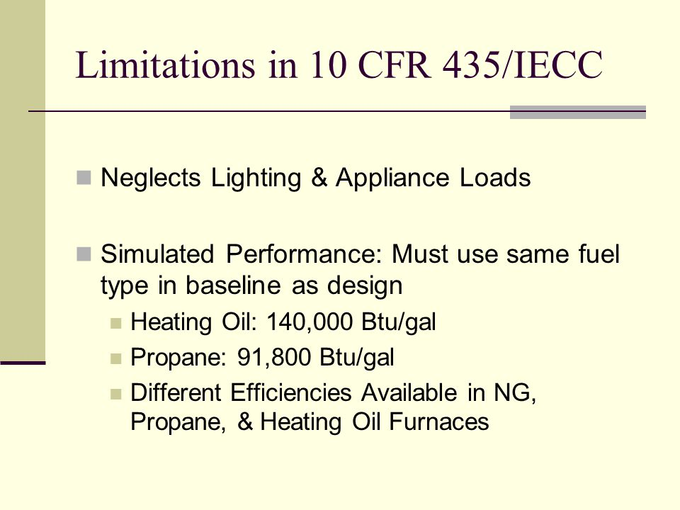 Limitations in 10 CFR 435/IECC