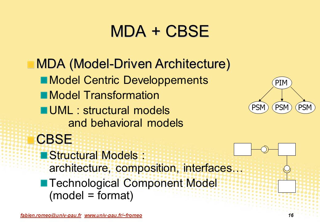 MDA + CBSE MDA (Model-Driven Architecture) CBSE