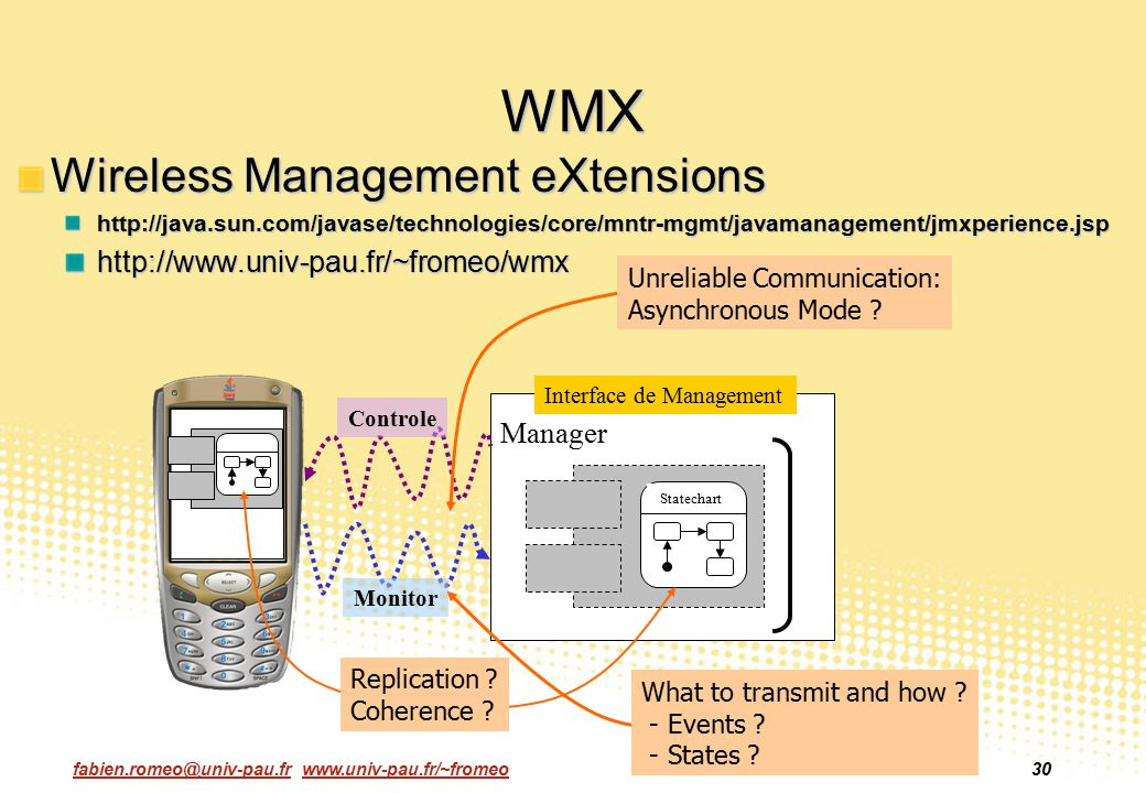 WMX Wireless Management eXtensions http://www.univ-pau.fr/~fromeo/wmx