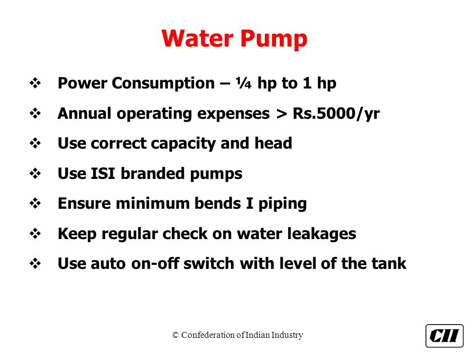 Water Pump Power Consumption – ¼ hp to 1 hp