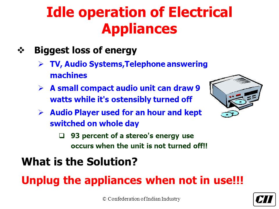 Idle operation of Electrical Appliances