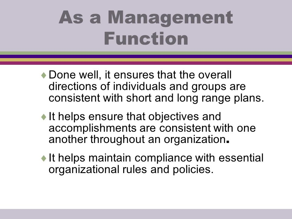 As a Management Function