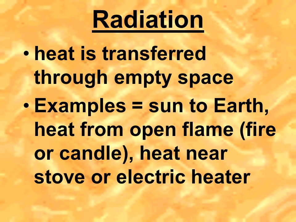 Radiation heat is transferred through empty space