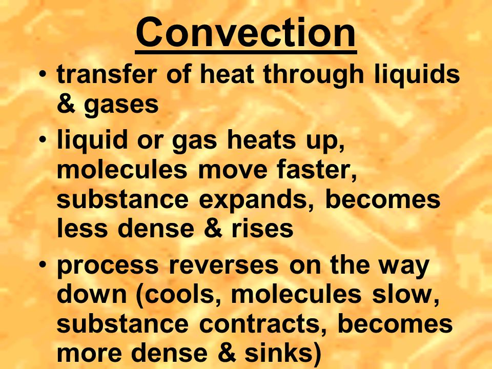 Convection transfer of heat through liquids & gases