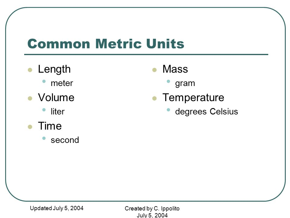 Common Metric Units Length Volume Time Mass Temperature meter liter