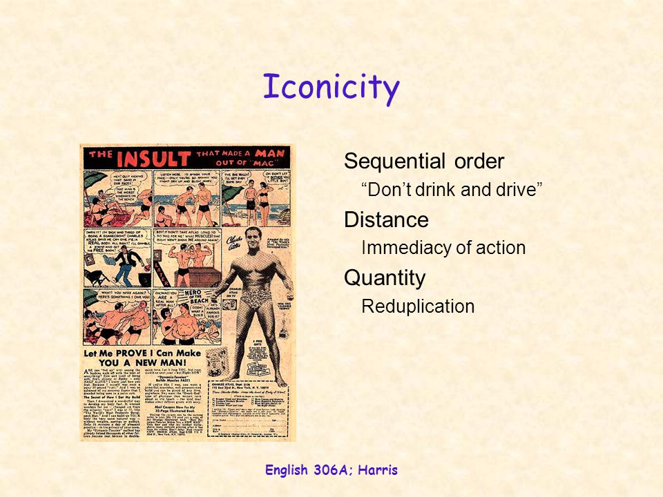 Iconicity Sequential order Distance Quantity Don't drink and drive