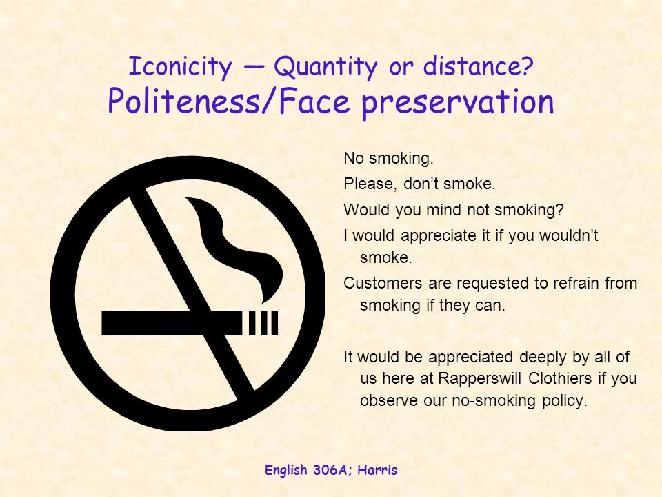 Iconicity — Quantity or distance Politeness/Face preservation