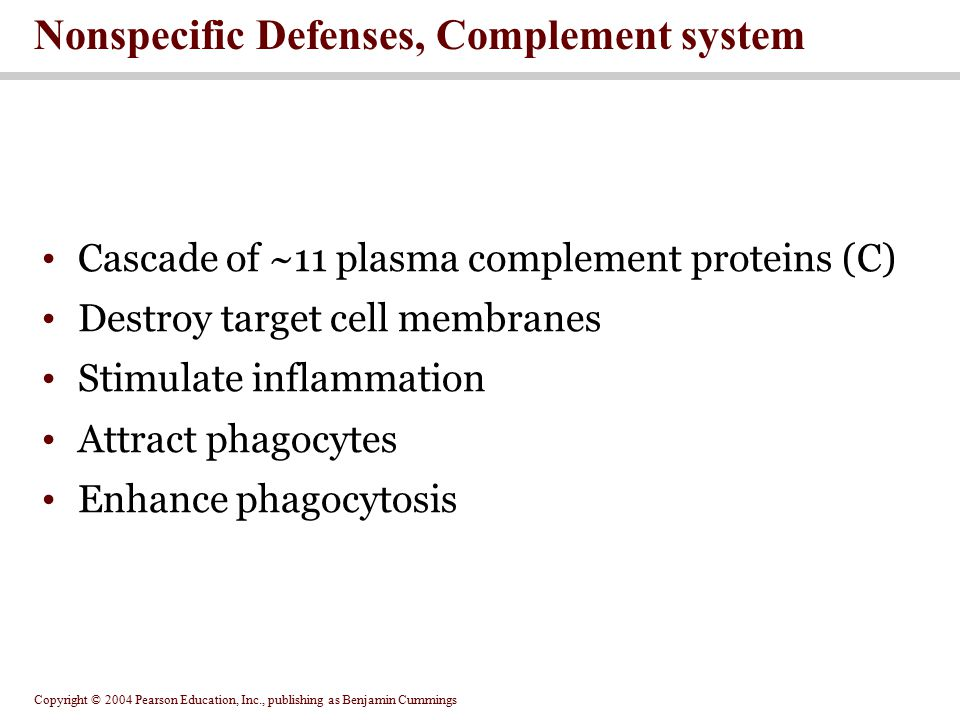 Nonspecific Defenses, Complement system