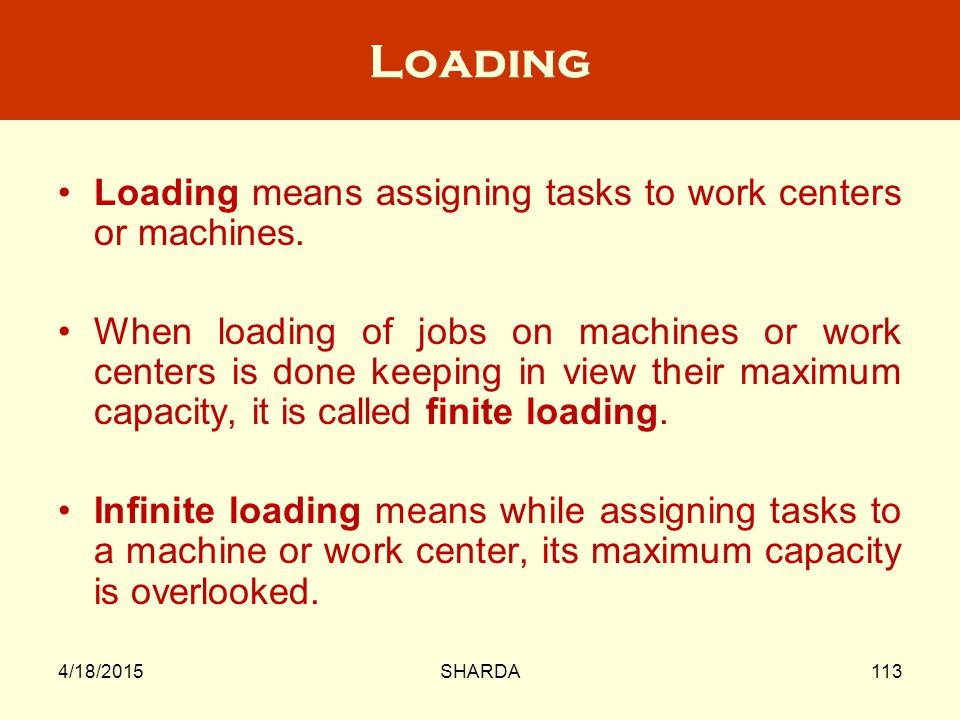 Loading Loading means assigning tasks to work centers or machines.