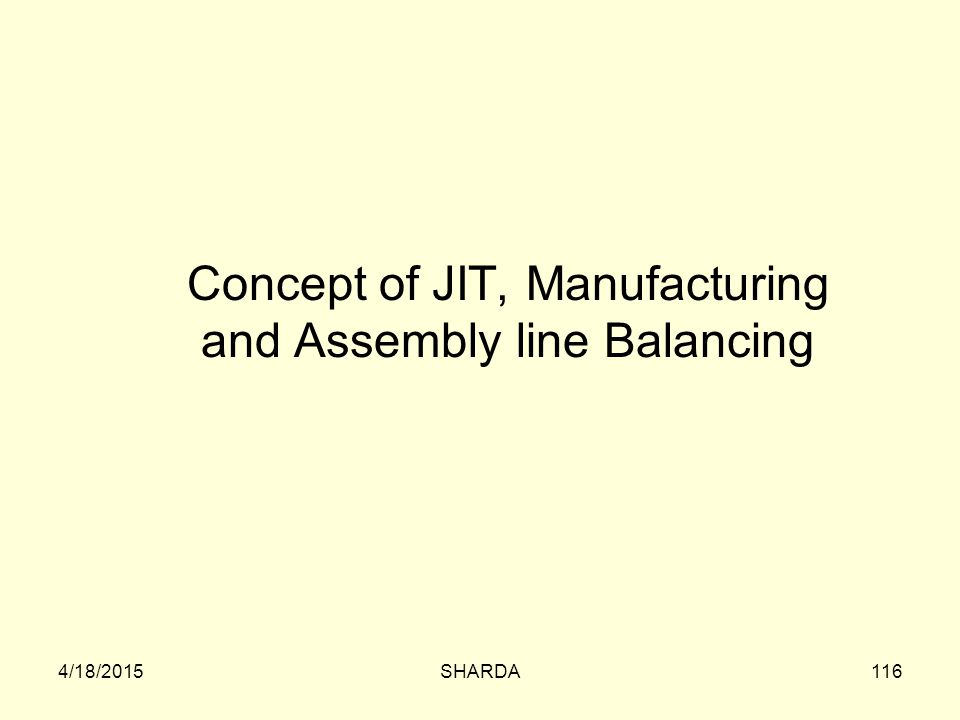 Concept of JIT, Manufacturing and Assembly line Balancing