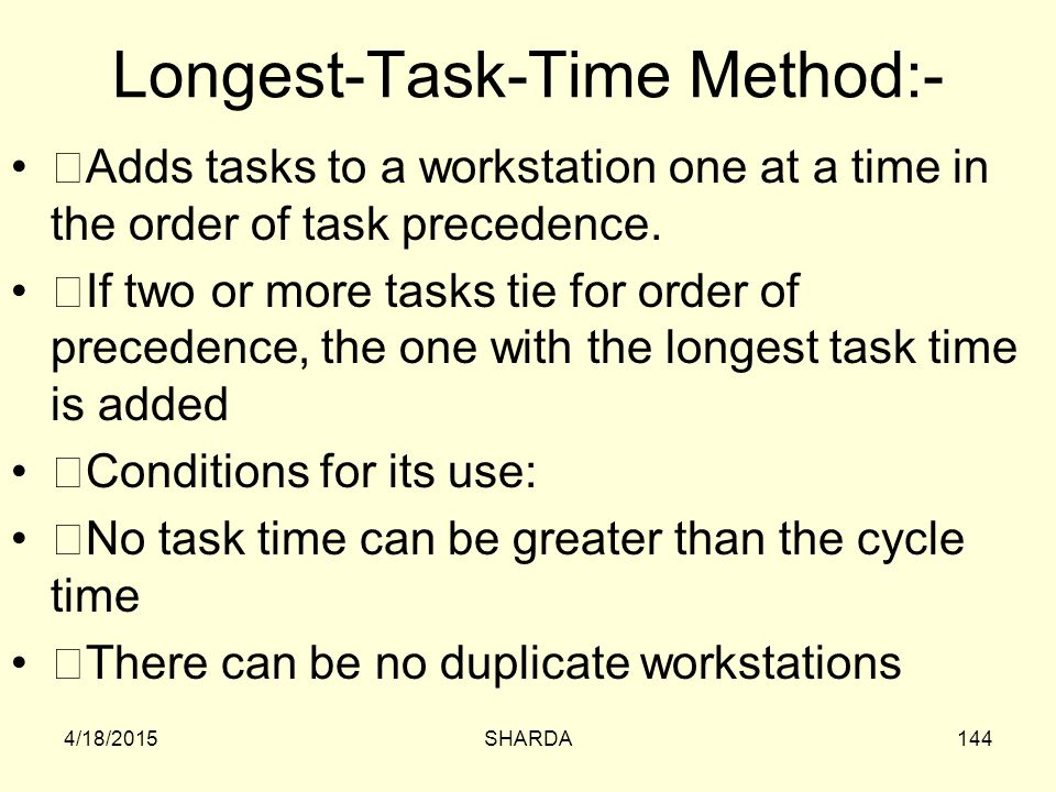 Longest-Task-Time Method:-