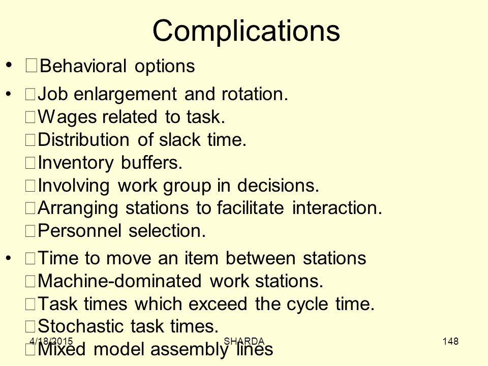 Complications Behavioral options