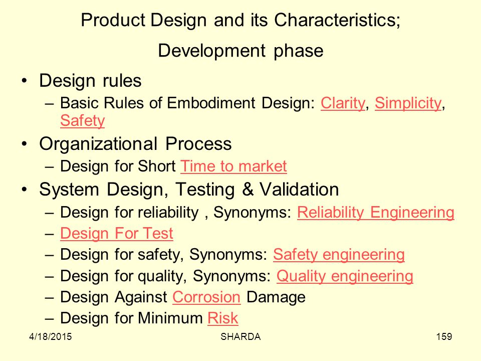 Product Design and its Characteristics; Development phase