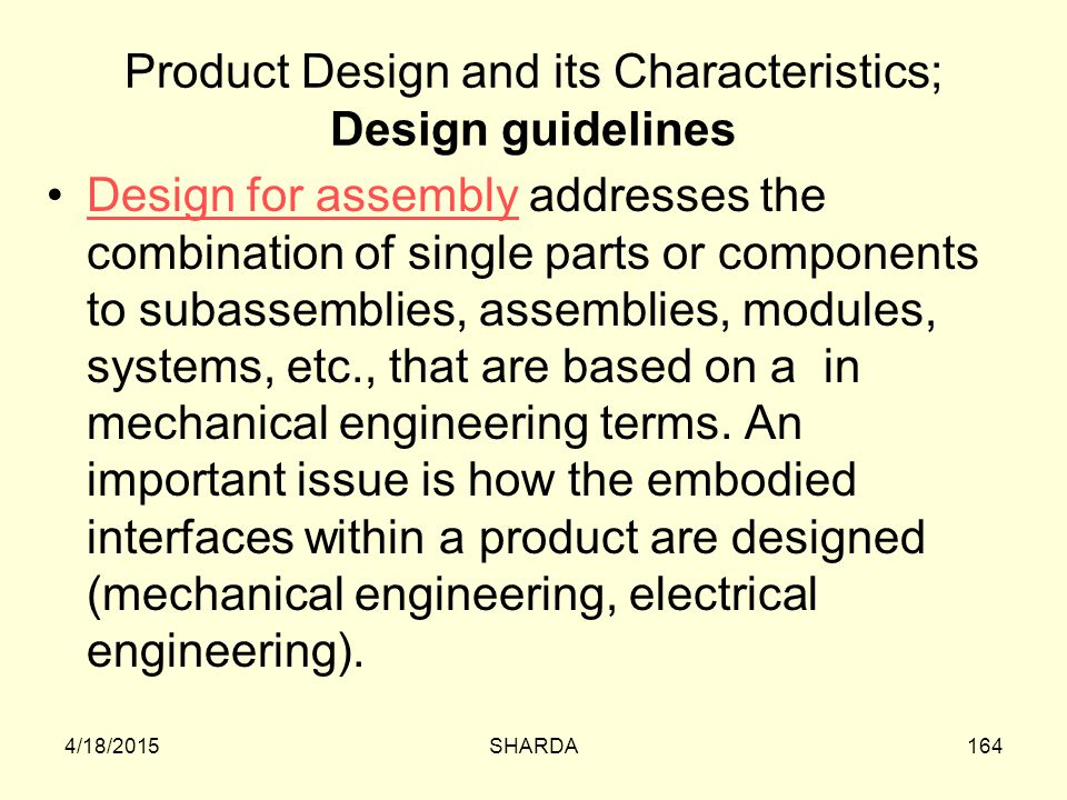 Product Design and its Characteristics; Design guidelines
