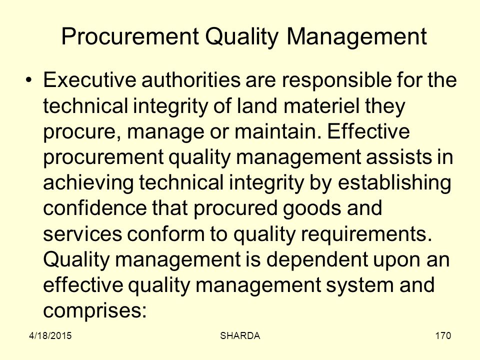 Procurement Quality Management