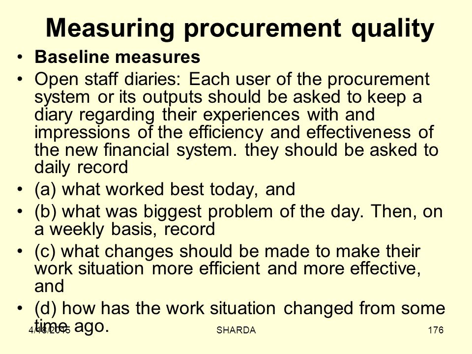 Measuring procurement quality
