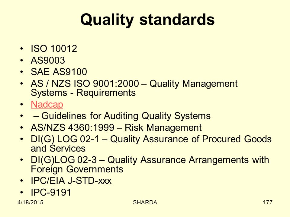 Quality standards ISO 10012 AS9003 SAE AS9100