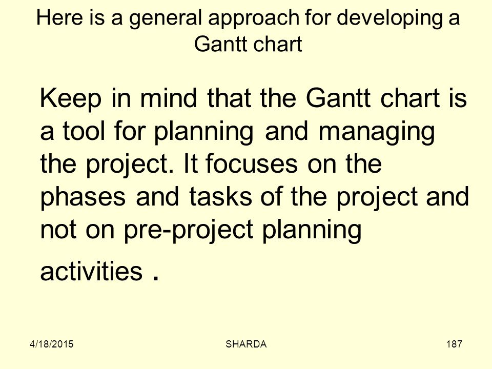 Here is a general approach for developing a Gantt chart