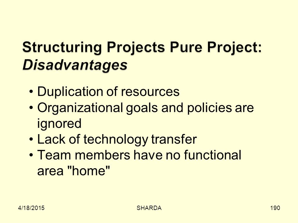 Structuring Projects Pure Project: Disadvantages